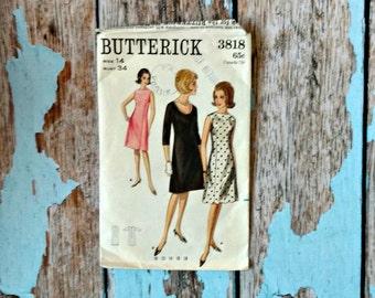 Vintage Sewing Pattern - Butterick 3818 - B 3818- Shift Dress - Princess Seam Dress - Sleeveless Dress - A- Line Dress - 1960s Dress