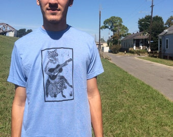 T Shirt - Blue Soft Style Hand Screen Printed with a Fox Playing Guitar