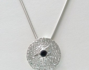 black spinel necklace, sea urchin pendant, sea star, sea urchin jewelry, beachcomber gift, surfer jewelry, diver gift, cruise jewelry