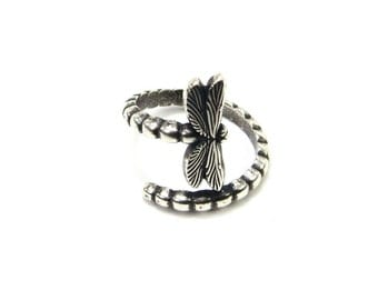 New Dragonfly Bypass Ring- Adjustable Dragonfly Ring- Sterling Silver Ox Finish