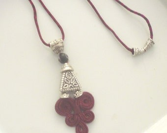 Moroccan tribal necklace, dark red art silk, boho necklace