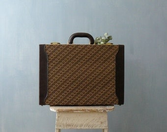 Vintage 1970s hard briefcase. Deadstock suitcase. Brown leather monogram canvas weekender bag