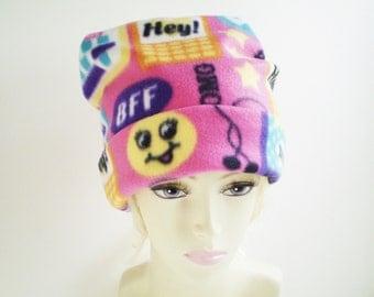 Teen Fleece Cap, Teen Fleece Hat, Teen Girl Hat, Teen Girl Cap, Fun Colorful Cap, BFF Hat, Pink Fleece Beanie Cap, Pink Beanie Hat, Text Hat