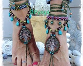 Beaded ANCIENT TREE barefoot jewelry Turquoise Drop Olive Green foot jewelry crochet sandal Naturalist Garden Wedding Tree Hugger GPyoga