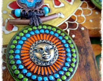 SUN MANDALA Earrings Ancient Japanese style Painted jewelry Sun Face earrings colorful Disk earrings Festival African long earrings GPyoga
