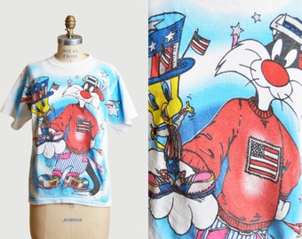 Vintage 90s Looney Toons Shirt Sylvester and Tweety Patriot Stars and Stripes Graphic TShirt Cartoon T Shirt xs s