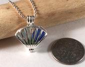 Silver Plated Sea Glass Filled Fan Locket, Sea Glass Pendant, Fan Pendant