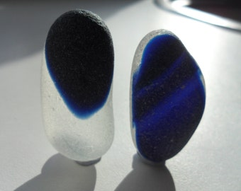 Large, Long, Slender Blue Multis  - Beautiful English Seaham Sea Glass- Free Shipping (5213)