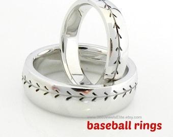 Baseball Ring - Baseball Band - Baseball Pattern - Baseball Design Band - Baseball Pattern - Baseball Wedding Band - Sports Wedding Ring 6mm