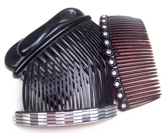 Mid century hair combs 3 celluloid hair accessories mid century decorative combs hair ornament hair jewelry