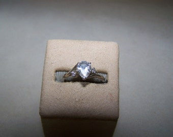 Sterling Silver Large Pear Shaped CZ Ring Size 8