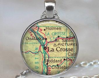 La Crosse, Wisconsin map necklace, LaCrosse necklace LaCrosse pendant map jewelry, map pendant La Crosse key chain key fob
