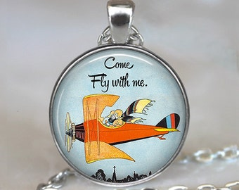 Come Fly with me necklace, Fly with me pendant, airplane necklace, romantic jewelry, romantic gift flight aviation key chain