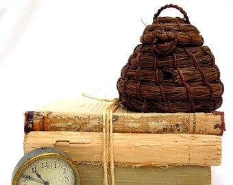 old bee skep.bee house.straw.primitive.beehive.collectible.unique.tessiemay vintage
