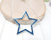 Blue Star Necklace - 4th of July - Star Necklace - Clearance
