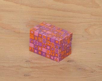 Vintage Retro Pink & Purple Square Geometric Graphic Recipe Box