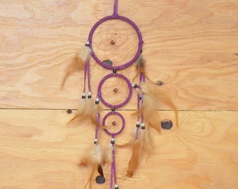 Unique Handmade Dream Catcher Tan Center With Purple Outer Ring 3 Rings Total Feather Fringe And Bead Detail