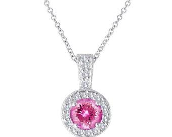 Pink Tourmaline and Diamonds Pendant Necklace 14K White Gold 1.17 Carat Halo Pave Handmade