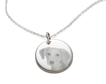 Custom Dog Memorial Picture Pendant Necklace Personalized Engraved Gift Idea Unique for Dog Lover