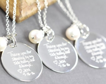 Bridesmaid Necklace Set of 5, Custom Engraved Handwriting Pendant Personalized Wedding Jewelry, 925 Sterling Silver, Set of 6, 7, 8, 9