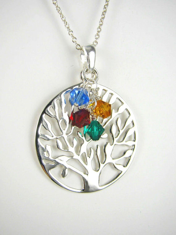 Grandmother Gift, Grandma Pendant, ALL  925 STERLING SILVER Family Tree Branch Pendant Charm Necklace, Birthstone Necklace
