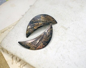 Altered Vintage Metal Post Earrings | Shabby Crescent Moons | 1980s Distressed Retro Geometric | Deco Revival | Age Worn Old Cosmic Ruins