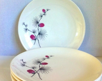 Vintage Bread or Side Plates, Cannonsburg Pottery Skyline, Wild Clover, Set of 5.