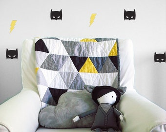 Super hero modern baby quilt , black and yellow triangle toddler crib quilt for boys