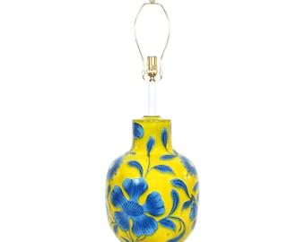 Alvino Bagni Italian Pottery Lamp Mid-Century Modern Raymor Yellow Blue Flowers XL Size