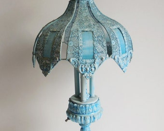 Vintage table lamp Ornate Robin egg Blue Glass panels Metal filigree shade Victorian Shabby French Country lighting