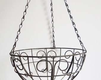 Vintage Hanging basket black rustic metal flower planter  French Country Garden Home leaves plants