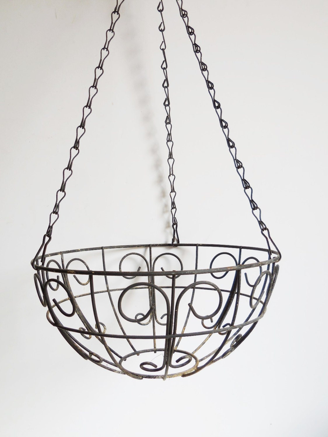 Metal Flower Hanging Baskets : Vintage hanging basket black rustic metal flower planter