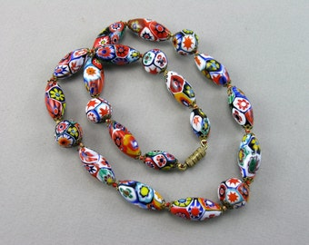 Vintage 1950's Venetian Murano Millefiori Glass Beads Necklace