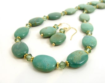 Chinese Turquoise necklace and earrings set