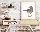 bird poster, blackbird print, digital silhouette art, gray taupe, bird decor, wodland decor, animal art, hipster print