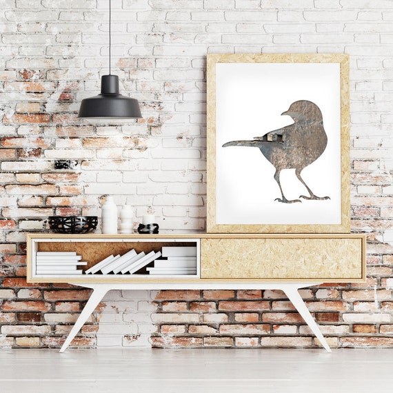 bird poster, blackbird print, digital silhouette art, gray taupe, bird decor, wodland decor, animal art, hipster print
