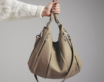 Soft Taupe Leather Handbag OPELLE Lotus Bag in Rocher