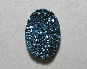 Blue Titanium Agate Druzy cabochon oval 20X30mm designer cab