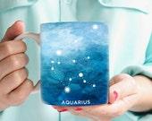 Aquarius Mug - Gift for a Aquarius Astrology Coffee Mug Aquarius Zodiac Present February Birthday Gift Aquarius Astrological Coffee Cup