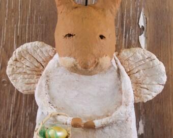 Primitive Easter Bunny Angel, OOAK, handmade paper mache, Primitive Easter