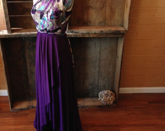 Plum Floral Mesh, Tulip Cut Lace and Satin Infinity Wrap Dress- Bridesmaids, Wedding, Maternity, Plus Size,