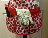 for williamsginny151...Laminated Utility, Garden, HALF APRON, sturdy, 8 pockets, Vendors, Sewing, Crafts, Lady Bugs,  Red, White, Black