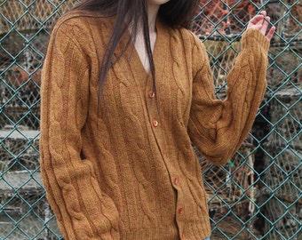 Vintage 70s Pendleton boyfriend wool rust coloured cable knit cardigan