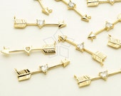 PD-1627-GD / 2 Pcs - Cupid's Arrows Sideways Pendants for Necklace, Heart CZ Arrow Pendant, Gold Plated over Brass / 28mm