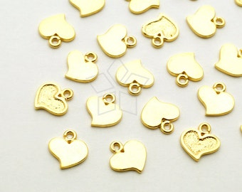 PD-1653-MG / 6 Pcs - Tiny Flat Heart Charms, Small Heart Pendant, Matte Gold Plated over Brass / 6mm x 6.5mm