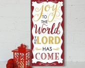 SALE!!!! READY to SHIP  Joy to the World Christmas Sign -Typography Word Art Sign Distressed Wood