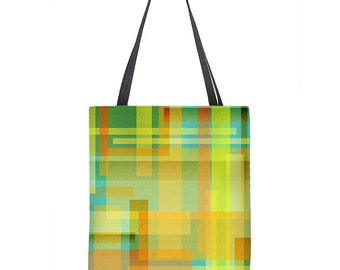 Colorful Tote Bag, teal tote bag, yellow tote bag, color block tote, small tote bag, large tote bag, gift for her, womans gift, art tote