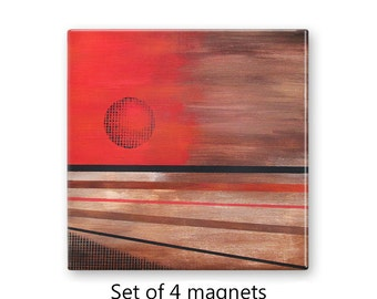 Fridge magnet set, refrigerator magnets, set of 4, kitchen decor, office decor, large magnets, abstract sun, abstract art magnets