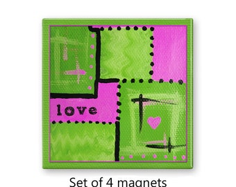 Love magnets, refrigerator magnets, fridge magnet set, abstract art magnets,  set of 4 decorative magnets, kitchen decor, lime green magnets