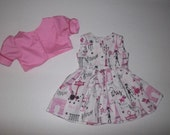 """Paris Eiffel tower dress and jacket fits 18"""" American girl doll Grace"""